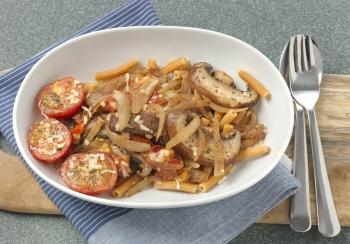 Kikkererwtenpasta met portobello & tomaat