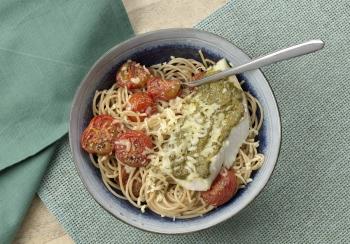 Spaghetti met kabeljauw & pesto